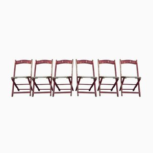 Wooden Folding Chairs, 1940s, Set of 6