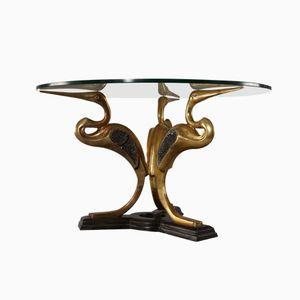 Bird Base Brass & Glass Coffee Table, 1970s