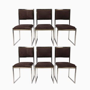 Brass & Chrome Chairs by Alain Delon for Maison Jansen, 1970s, Set of 8