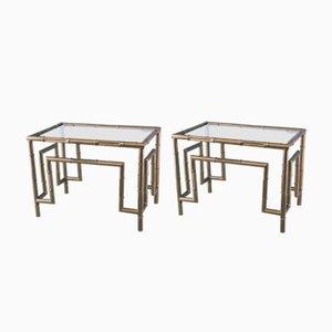Table d'Appoint en Faux Bamboo, 1970s, Set de 2