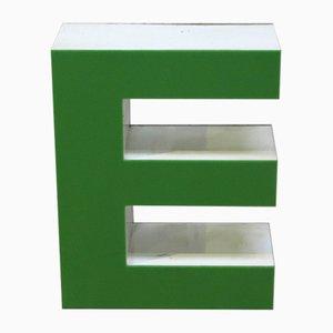 Letra E decorativa vintage verde, años 70