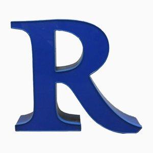 Lettre R Vintage Décorative Bleue, 1970s