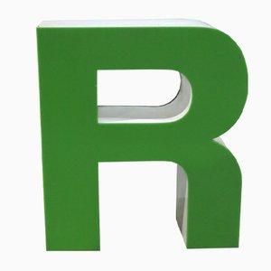 Letra R decorativa vintage verde, años 70