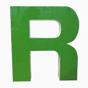 Letra R decorativa vintage grande en verde, años 70