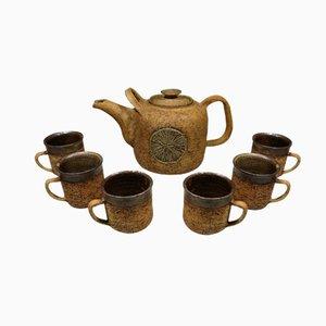 Juego de té danés de cerámica de Godtfrid, años 70