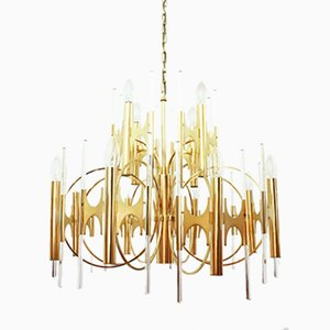 Large Italian Brass & Glass Chandelier by Gaetano Sciolari, 1970s