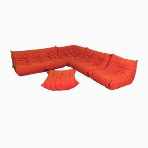 Juego de sofás Togo de microfibra naranja de Michel Ducaroy para Ligne Roset, 1974