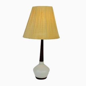 Lámpara de mesa danesa de teca y cerámica, años 60