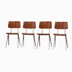 Sillas industriales vintage con asientos de contrachapado y esturctura compás