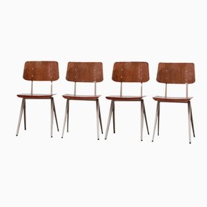 Vintage Industrial Compass Chairs with Plywood Seating, Set of 4