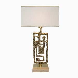 Vintage Gilded Bronze Lamp by Angelo Brotto for Esperia