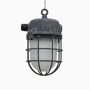 Lámpara colgante enjaulada industrial vintage, años 60
