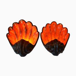 Applique Mid-Century a forma di conchiglia in vetro rosso e arancione, set di 2