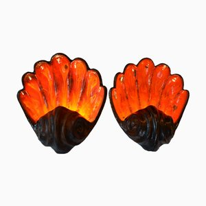 Mid-Century Fat Lava Mussel Wall Lights, Set of 2