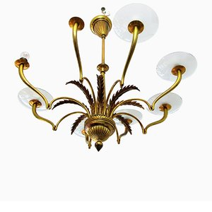Italian Glass Disks Chandelier, 1930s