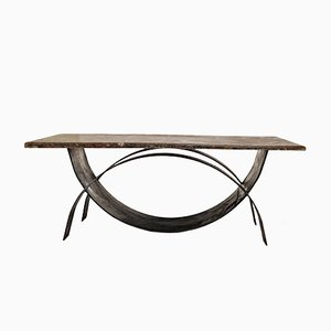 Modernist Coffee Table with Fossil Stone Top, 1980s