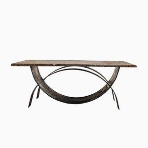 Tavolino da caffè modernista con superficie in pietra fossile, anni '80