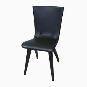 Chaise Swingchair en Bois Noir et en Vinyle de Van Os Culemborg