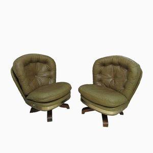 Vintage Italian Leather Armchairs, Set of 2