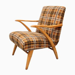 Wooden Armchair with Checkered Fabric, 1950s