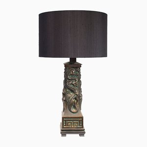 Lámpara de mesa de latón con dragón, años 70