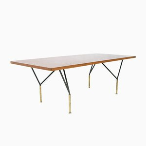 Table Basse en Teck et en Fer, Italie, 1950s