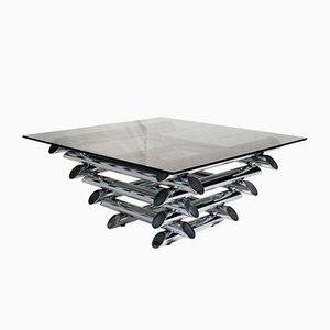 French Tubular Chrome Coffee Table, 1970s