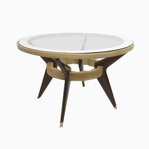 Mahogany, Maple, and Glass Table, 1940s