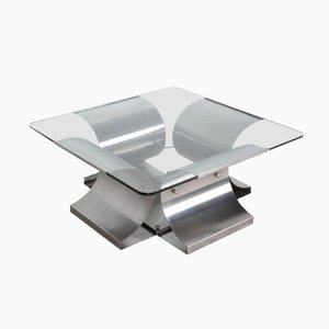 Square French Steel Table by Francois Monnet, 1970s