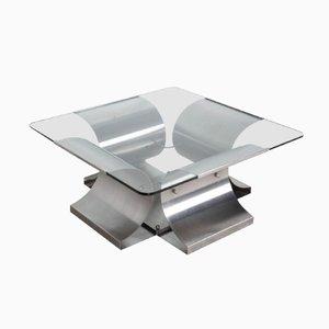 Tavolo quadrato in acciaio di Francois Monnet, Francia, anni '70