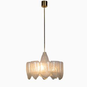 Mid-Century Ice Glass Chandelier from Doria
