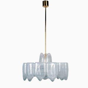 Lámpara de araña Mid-Century grande de cristal de hielo de Doria