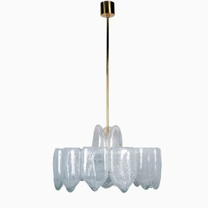 Large Mid-Century Ice Glass Chandelier from Doria