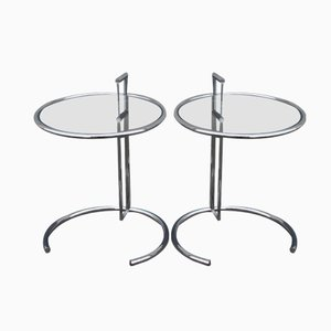 Vintage French Chrome & Glass Side Tables, 1970s, Set of 2