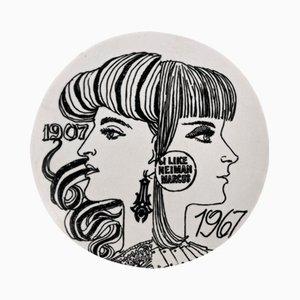 Assiette Neiman Marcus 60th Anniversary en Porcelaine avec Boîte par Piero Fornasetti, 1967