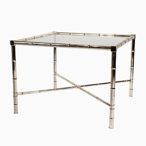 Vintage Chrome Side Table with Glass Top