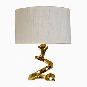 Französische Schlangen Messing Lampe, 1970er