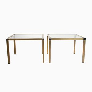 Brass and Chrome Side Tables with Glass Top, 1970s, Set of 2