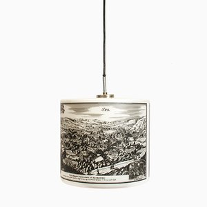 Pendant Light with Historical Pictures of Spa and Liège, 1970s
