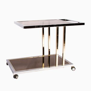 Vintage Gold-Plated and Chrome Bar Cart from Belgochrom