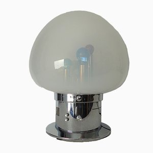 Lámpara italiana de vidrio soplado y cromo con sensor de sonido, años 70