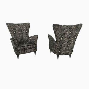Italienische Sessel mit Muster in Grau & Schwarz, 1950er, 2er Set