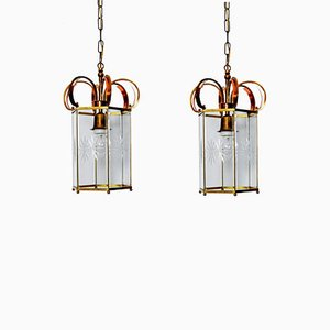 Copper Brass and Cut Glass Lanterns, 1960s, Set of 2
