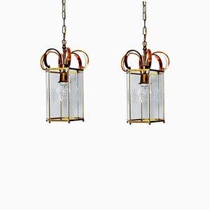 Lanternes en Cuivre et en Verre Taillé, 1960s, Set de 2