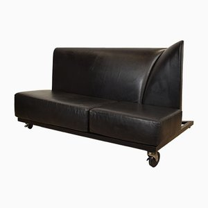 Black Leather Sofa by Paolo Pallucco and Mireille Rivier for Pallucco, 1980s