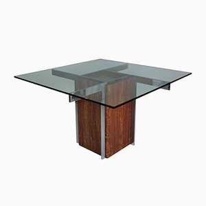 Marble & Chrome Modernist Dining Table, 1960s