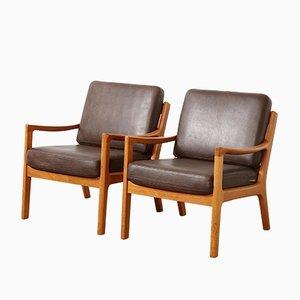 Easy Chairs Vintage en Teck et en Cuir par Ole Wanscher pour Cado, Set de 2