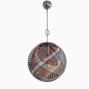 Kugel-Hängelampe aus Chrom & Murano Glas mit Muster in Schokobraun, 1960er