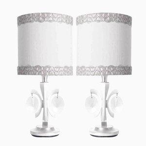 Lampe de Table en Nickel Plaqué et en Cristal par Gaetano Sciolari, 1960s, Set de 2