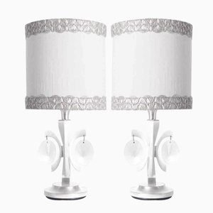 Nickel Plated & Crystal Table Lamp by Gaetano Sciolari, 1960s, Set of 2